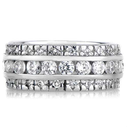 Silvertone Triple Row CZ Eternity Ring