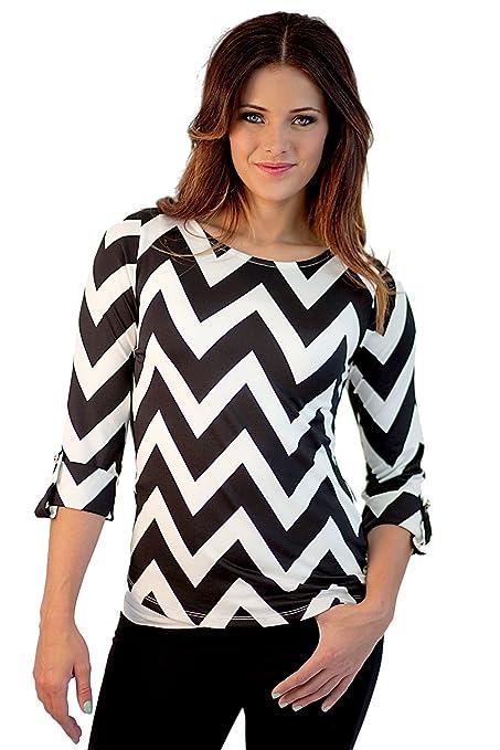 Women's Chevron Print Blouse Multiple Colors by Boutique Socks