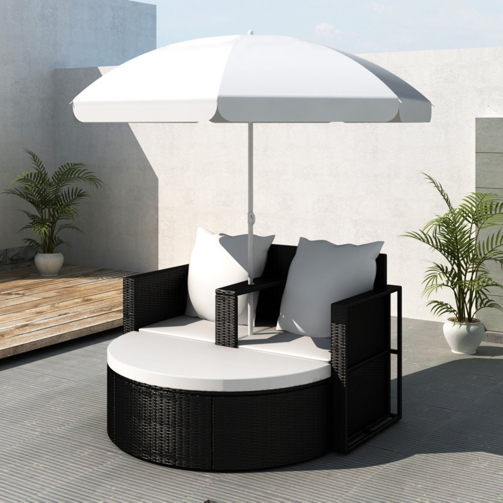 vidaXL Gartenlounge Poly Rattan Lounge Set Gartengarnitur Schwarz jetzt bestellen