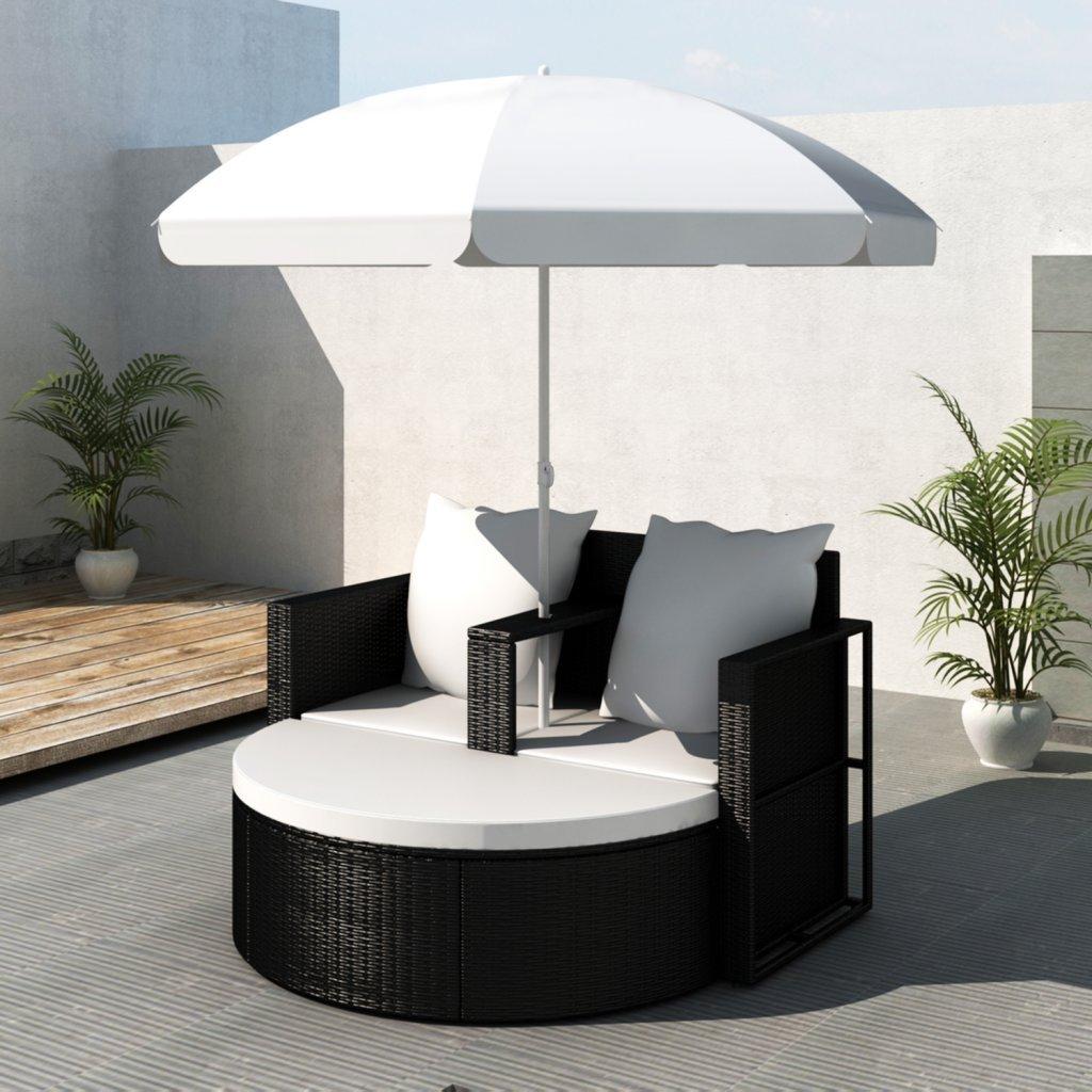 vidaXL Gartenlounge Poly Rattan Lounge Set Gartengarnitur Schwarz