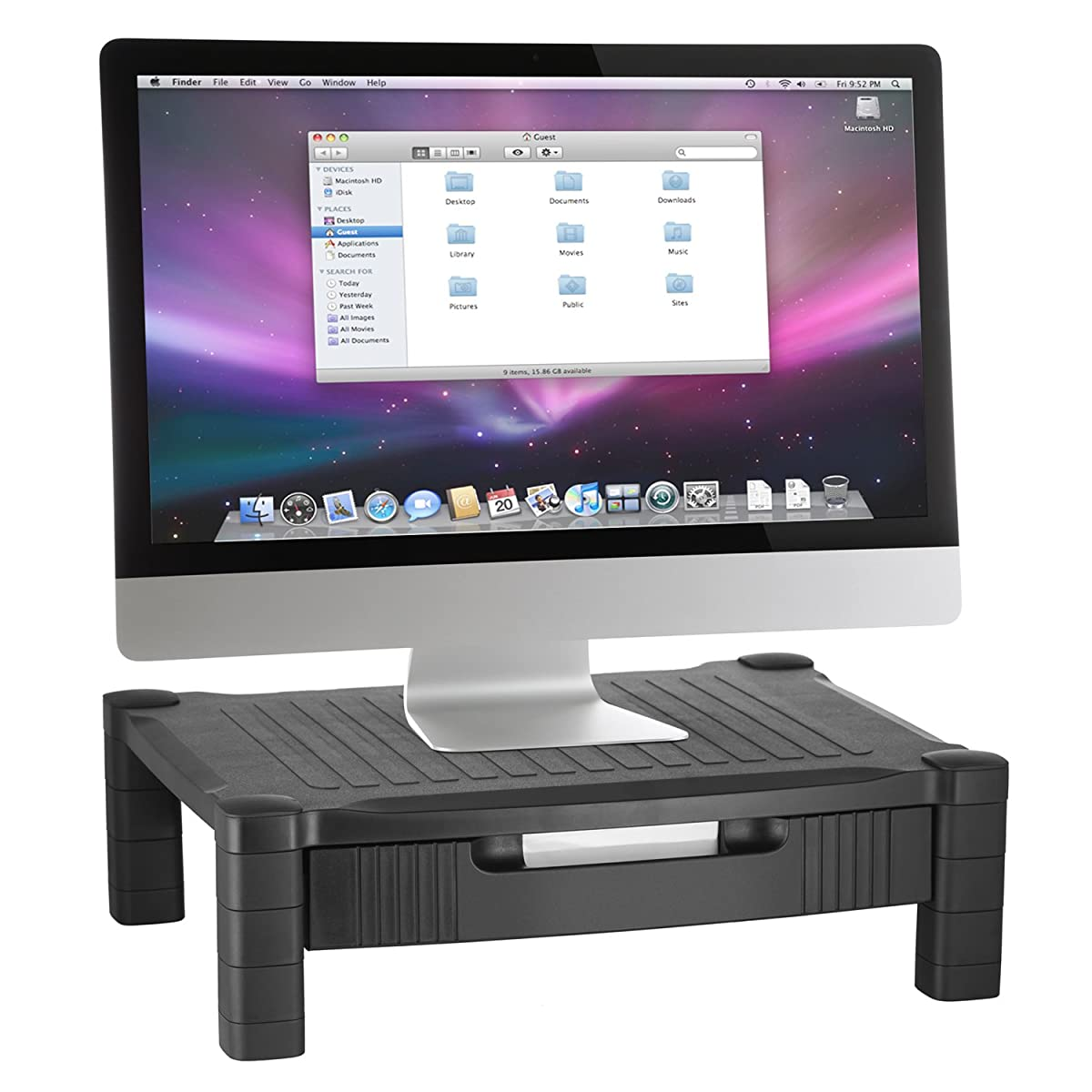 Halter 2 Pack of LZ-302A Monitor Stand/Monitor Riser with Pull Out Drawer and Cable Management - Black