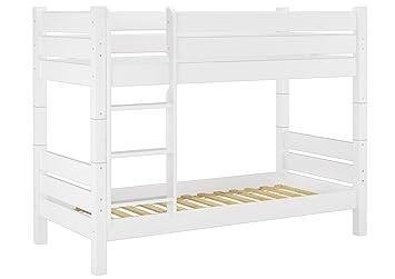 60.16-10 W T80 Etagenbett fur Erwachsene weiß 100x200 cm, Nische 80 cm, teilbar