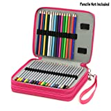 BTSKY Deluxe PU Leather Pencil Case For Colored Pencils - 120 Slot Pencil Holder (Rose Red) (Color: Rose Red)