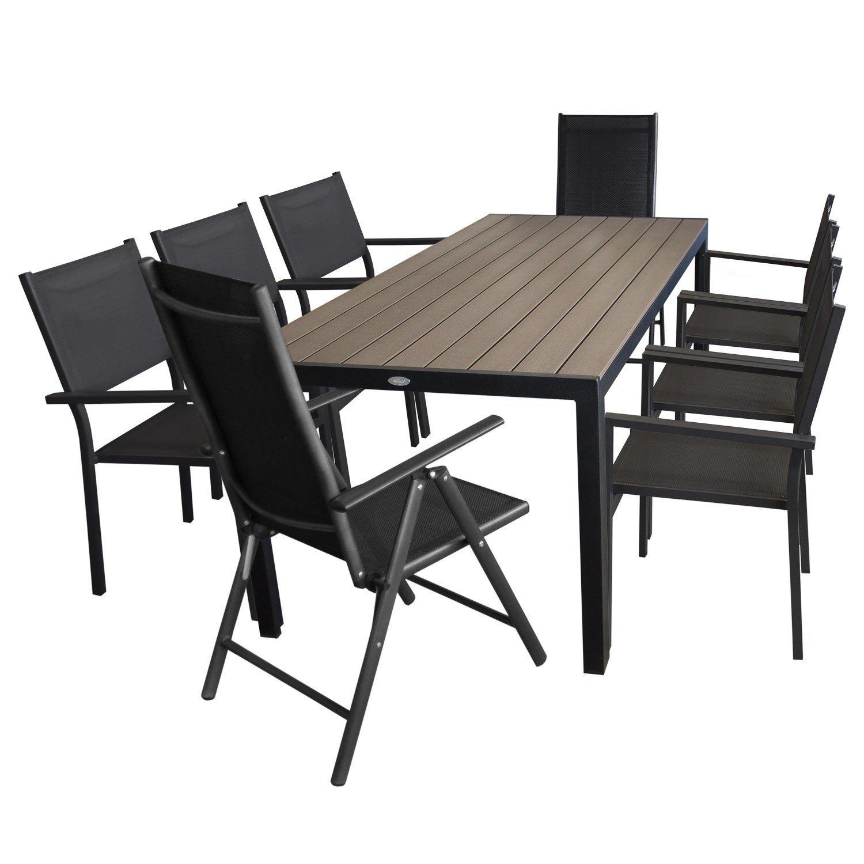 9tlg. Gartenmöbel Set Gartengarnitur - Gartentisch, 205x90cm mit Polywood Tischplatte + 6x Stapelstuhl + 2x Hochlehner, klappbar, 7-fach verstellbar - Sitzgruppe Sitzgarnitur Terrassenmöbel