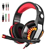 Gaming Headset for PS4 Xbox One, Beexcellent Stereo Over Ear Gaming Headphones Noise Cancelling Wired PC Headset with Mic/Bass Surround/Volume Control/LED Light for Playstation 4/Laptop/Mac/Computer (Color: Black-Red)