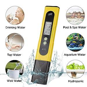 Digital PH Meter - 0.01 PH High Accuracy Water Quality Tester PH 0.0-14.0 PH Monitor ATC Pocket Pen Analyzer Pool Water Aquarium Pocket Portable (Yell