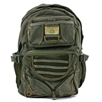 Canvas and Mesh Backpack for School-College-or as a Day Pack-Olive Drab-Main compartment 16 x 11 x 4 inches