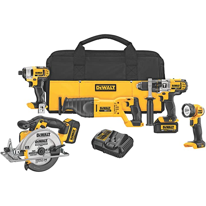 DEWALT DCK590L2 20-Volt MAX Li-Ion 3.0 Ah 5-Tool Combo Kit via Amazon