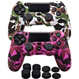 MXRC Silicone rubber cover skin case anti-slip Water Transfer Customize Camouflage for PS4/SLIM/PRO controller x 2(white & pink) + FPS PRO extra height thumb grips x 8 (Color: Print 2 Pack White Pink, Tamaño: Print Pack)