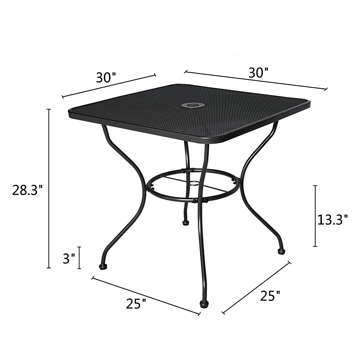 """Homevibes 30"""" Outdoor Patio Dining Table Top Bistro Table Top Umbrella Stand Square Deck Furniture Garden Table Powder-Coated Steel Frame, Ash Black"""