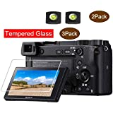 A6400 Screen Protector Appliable for Sony Alpha A6300 A6400 A6000 A5000 Camera & Hot Shoe Cover,ULBTER 0.3mm 9H Hardness Tempered Glass Flim, Anti-Scrach Anti-Fingerprint Anti-Bubble [3 Pack] (Color: A6400 A6300 A6000 A5000)