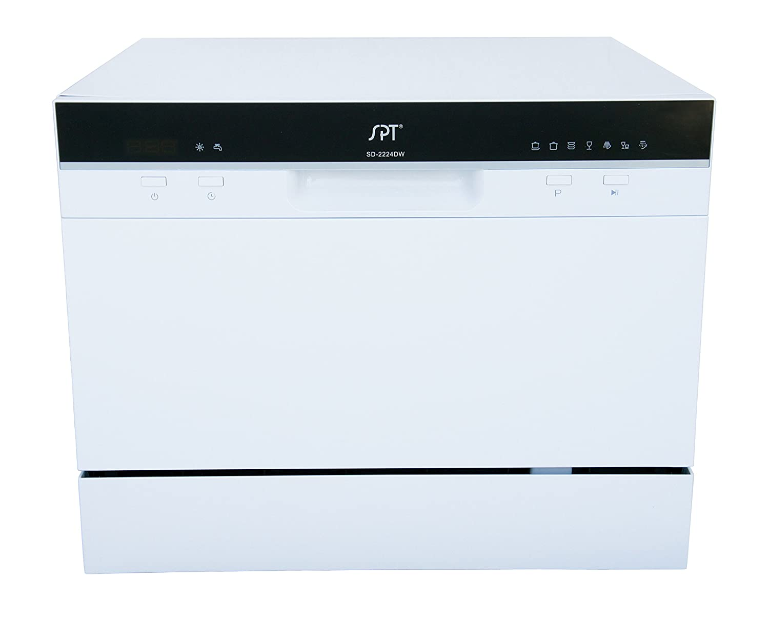 SPT SD-2224DW Countertop Dishwasher with Delay Start & LED, White
