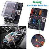 LinkStyle Automotive Blade Fuse Box Holder, 6 Way Fuse Block Circuit Box Waterproof LED Illuminated with Cover for Car Boat Marine