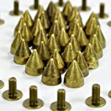 RUBYCA 1000 Sets 9MM Bronze Color Bullet Cone Spike and Stud Metal Screw Back DIY Leather-Craft (Color: Bronze, Tamaño: 1000 PCS)