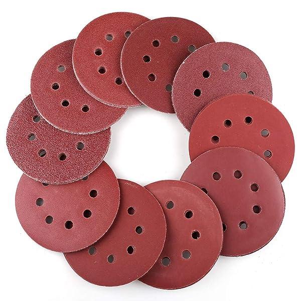 100PCS 5 Inch 8 Holes Sanding Discs - 40 60 80 100 120 180 240 320 400 800 Grit Assorted Sandpaper, Hook and Loop Random Orbital Sander Round Sand Paper by LotFancy (Tamaño: 100PCS, 40-800 Grit)