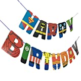 Superhero Happy Birthday Banner Party Supplies for Kids Birthday Party Decoration