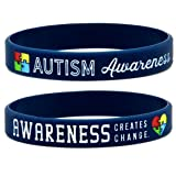 Autism Awareness Bracelets, 6-pack - Silicone Wristbands in Adult Unisex Size