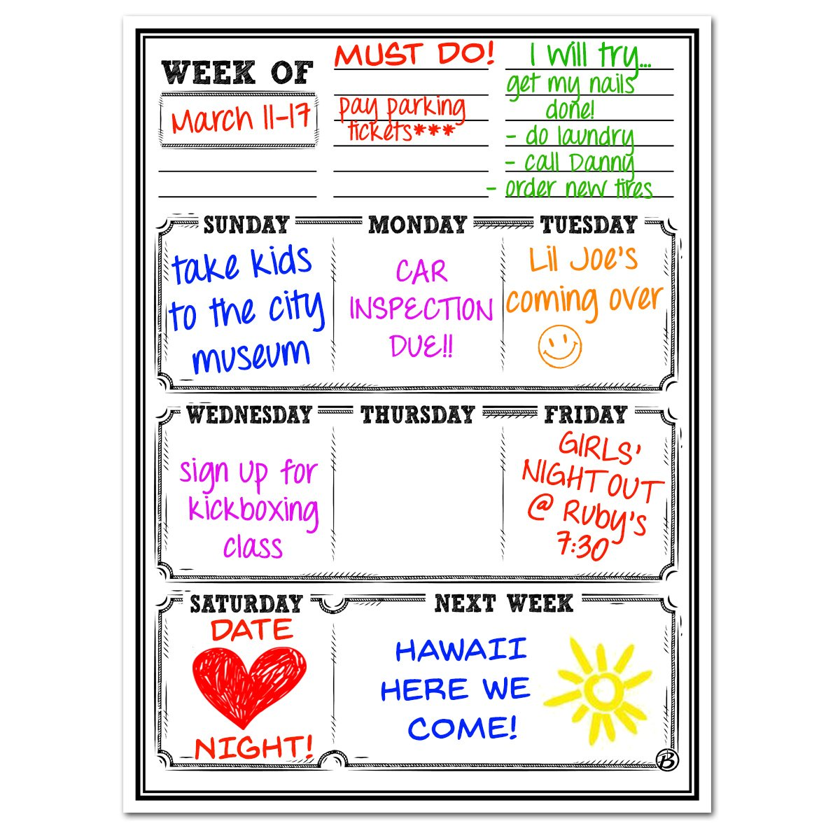 Smart Planner: Magnetic Dry Erase Weekly Planner | Vertical Refrigerator Whiteboard | 30 Mil Thick Magnet | Use as Weekly Calendar, Meal, Grocery, To Do or Chore List