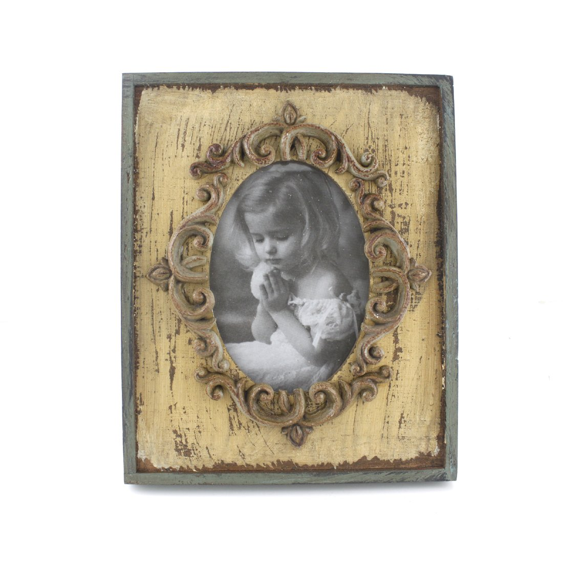 3x5-inch Vintage Rustic Feel Wooden Family Picture Photo Frame with Glass Front for Desk Top (Beige) 2