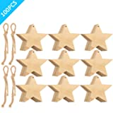Tatuo Wooden Star Cutouts Christmas Star Wooden Ornaments Hanging Ornaments with Ropes for Embellishments, Wedding, DIY, Craft, Festival (100 Pieces) (Color: 100 Pieces)