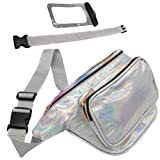 Holographic Fanny Pack with Belt Extender - Plus Waterproof Phone Pouch - 3 Pockets, Adjustable and Fashionable Waist Bag for Travel, Festival, Party, Rave, Cruise; Irridescent for Women, Men, Kids (Color: silver holographic, Tamaño: 7.1x6.3x4)