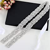 1 Yard Rhinestone Wedding Dress Applique for Bridal Ribbon Belt Iron on Jeweled Crystal Thin Sash Applique for Women Formal Prom Evening Bridesmaid Gown (Color: Silver-475, Tamaño: 36*1.3 Inches)