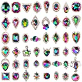 48pcs Big Mix Sizes Different Shapes Colorful AB Iridescent 3D Crystals Diamonds Large Rhinestones Bow Silver Metal Charms Gems Stones for Nail Art Beauty Design Decoration Craft Jewelry DIY (Color: 48ps Large Silver Rhinestone Gems)
