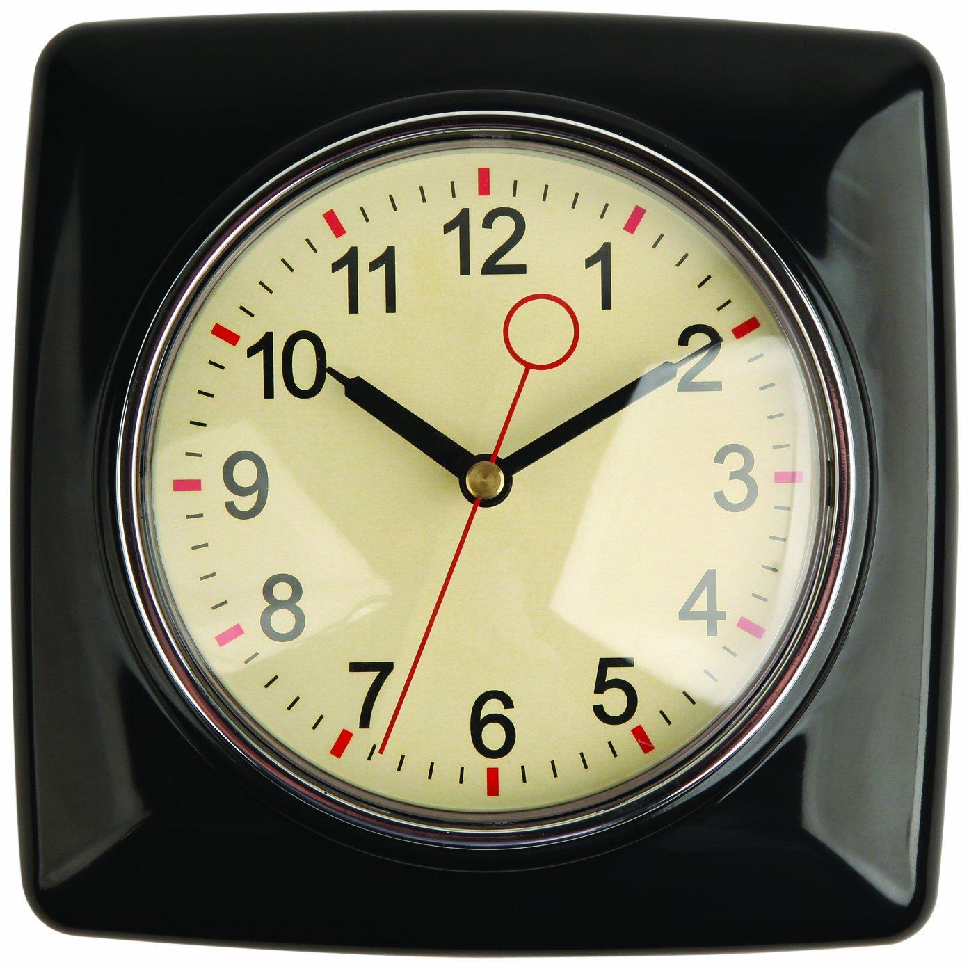 New square classic retro vintage 50s 50 s style design for Black retro wall clock
