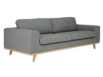 massivum Sofa Retro 220x86x100 cm Flachgewebe-Stoff grau