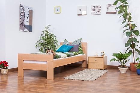 "Holzbett ""Easy Sleep"" K2, Buche Vollholz massiv Natur - Maße: 90 x 200 cm"