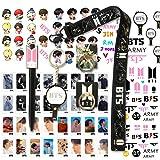 BTS Gifts Set for Army - 32Pcs BTS Lomo Cards/2 BTS Phone Ring Holder/ 1 BTS Lanyard/ 1 BTS Keychain/ 1 BTS Pen/ 4 BTS 3D Stickers/ 2 BTS Tattoo Stickers