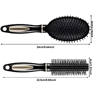 12 Pcs Paddle Hair Brush Detangling Brush Hair Brush Comb Set, Include 2 Pieces Airbag Massage Comb and 10 Pieces Hair Styling Comb