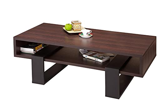 Furniture of America Monroe Rectangular Coffee Table, Walnut and Black