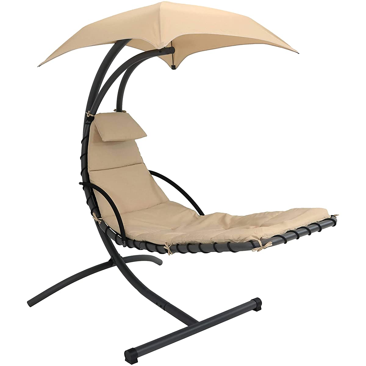 Sunnydaze Floating Chaise Lounger Swing Chair with Canopy, 79 Inch Long, Beige, 260 Pound Capacity