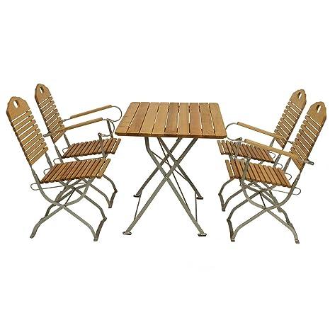 Garnitur BAD TÖLZ 5-teilig verzinkt /2x Stuhl, 2x Armlehnensessel, 1x Tisch, Robinienholz, witterungsbeständig und robust