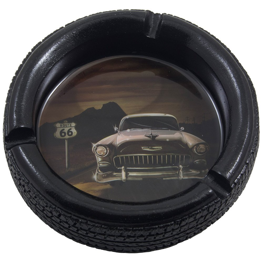 Car Tire Ashtray with Elvis Presley's Pink Cadillac on Route 66 for Vintage Auto Mechanics Shop or Retro Roadhouse Table Decor As Classic Father's Day Gifts for Dad 1