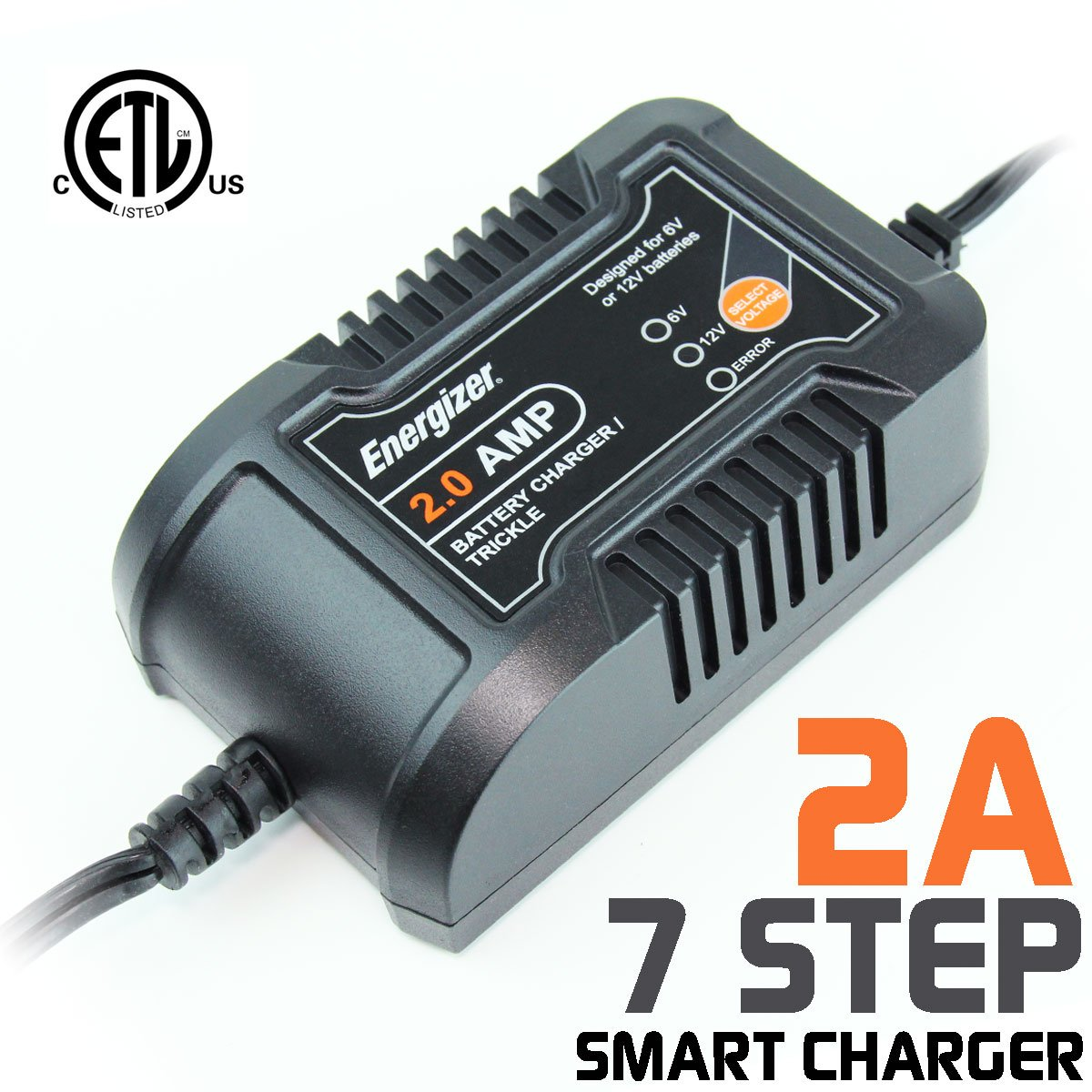 Energizer ENC2A 2 Amp Battery Charger + Maintainer 6/12V - 7 Step Smart Charging technology that will improve your batterys life cycle for Car, RV or Boat