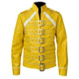 LP-FACON Freddie Mercury Jacket Queen Concert Belted Motorcycle Yellow Leather Jacket (Color: Yellow, Tamaño: Small)