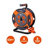 Link2Home Cord Reel 60 ft. Extension Cord 4 Power Outlets - 14 AWG SJTW Cable. Heavy Duty High Visibility Power Cord. (Color: Grey / Orange, Tamaño: 60 ft)