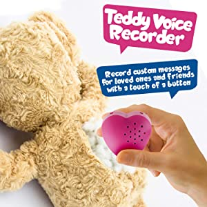 2 Pack, Inventiv 30 Second Voice Sound Recorder Module for Plush Toy, Stuffed Teddy Bear Animal Recordable Heart, Record Custom Messages (Pink) (Color: 2pack - Pink)