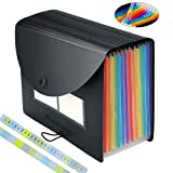 Expanding File Folders/BluePower 12 Pockets A4 Letter Size Accordion File Organizer/Multicolor Portable Expandable Filing Box,High Capacity Plastic Accordian File Bag Wallet Briefcase with Colored Tab (Color: 12 Colors File Floder Cover)