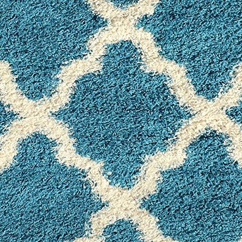 Soft Shag Area Rug Moroccan Trellis Red Black Grey Blue