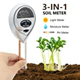 [2018 Upgraded] Soil Moisture Meter - 3 in 1 Soil Test Kit Gardening Tools for PH, Light & Moisture, Plant Tester for Home, Farm, Lawn, Indoor & Outdoor (No Battery Needed) (Color: Silver)
