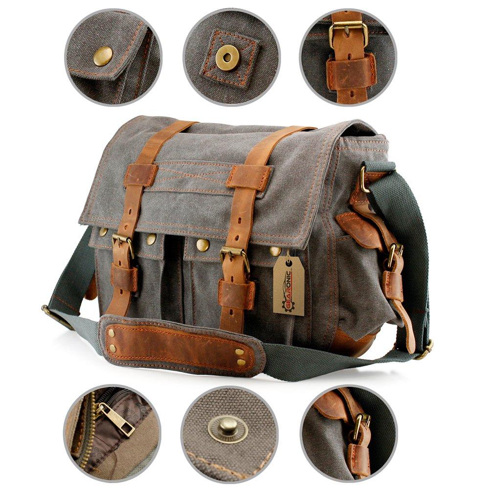 GEARONIC TM Men's Vintage Canvas and Leather Satchel School Military Shoulder Bag Messenger 0
