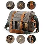 GEARONIC TM Men's Vintage Canvas and Leather Satchel School Military Shoulder Bag Messenger