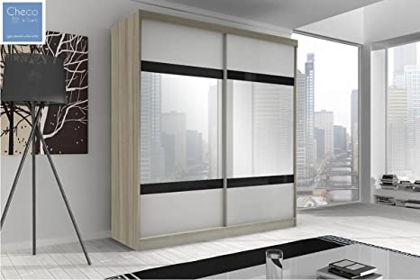 MODERN SLIDING DOOR WARDROBE 6 ft (183cm) MULTI F02 SONOMA OAK SIDES & WHITE FRONT WITH BIG MIRRO