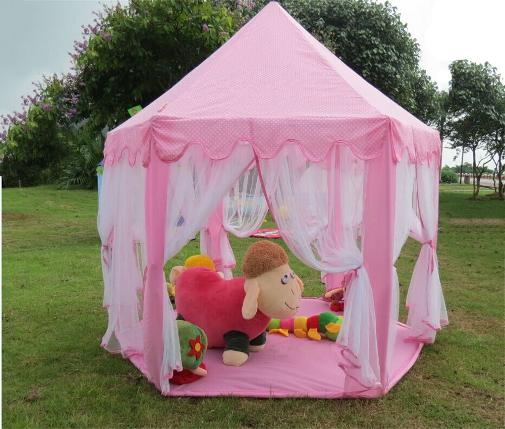 Tent playhouse canopy princess castle kids girls toys play for Gazebo plegable easy
