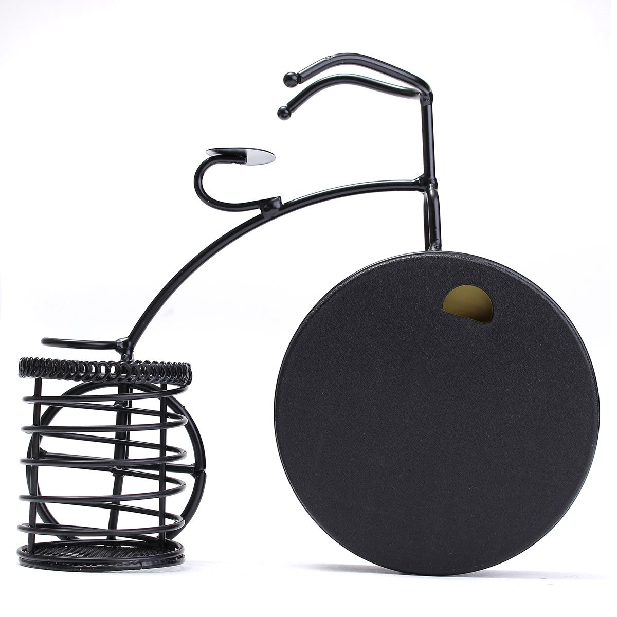 BABAN Creative Alarm Clock With Brush Pot Bicycle Shape Retro Alarm Clock Classic Small Round Silent 3