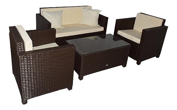 Jet-Line - Set mobili da giardino in rattan Cannes, colore: marrone