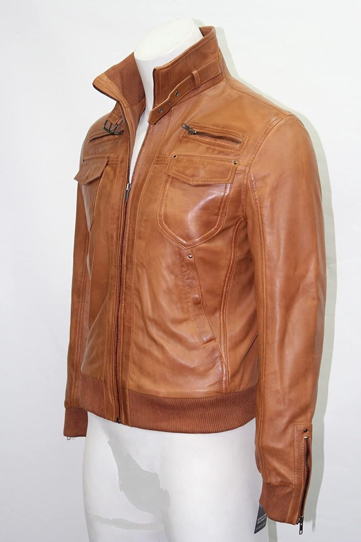 Harrington homme couleur beige en cuir souple style bombardier blousons de cuir